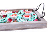 Candles on vintage tray — Foto de Stock