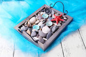 Vintage tray with sea pebbles — Stockfoto