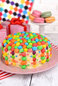 Delicious rainbow cake — Stock Photo