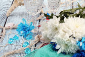 Chrysanthemum and marine decor — Foto Stock