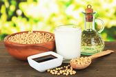 Soy products on table on bright background — Stock Photo