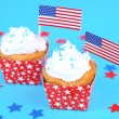 American patriotic holiday cupcakes — Stock Photo #50820423