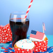 American patriotic holiday cupcakes — Stock Photo #50820535