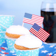 American patriotic holiday cupcakes — Stock Photo #50820557