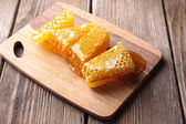 Fresh honeycomb on table — Stock Photo