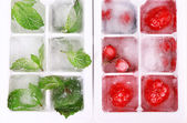Ice cubes with forest berries, mint leaves in ice cube tray, close-up — Stock Photo