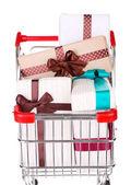 Nombre de boîtes présent dans votre panier isolé sur blanc — Photo