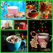 Christmas drinks collage — Stock Photo