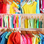 Wardrobe with clothes collage — Stock Photo