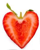 Rote reife erdbeere, isoliert auf weiss — Stockfoto