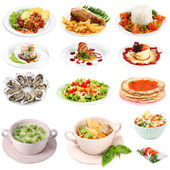 Food collage isolated on white — Foto Stock