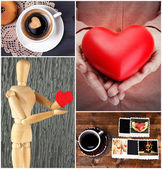 Collage of pictures with different hearts — Stock Photo