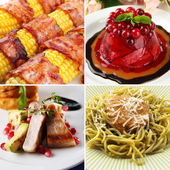 Collage of delicious food close-up — Stock Photo