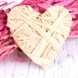 Decorative straw for hand made and heart of straw, on wooden background — Stock Photo #51112951