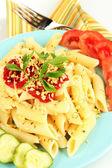 Rigatoni pasta dish with tomato sauce close up — Stock Photo