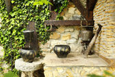 Old retro cauldrons in garden — Foto de Stock