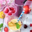 Delicious smoothie on table, close-up — Stock Photo #51170123