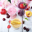 Delicious smoothie on table, close-up — Stock Photo #51170141