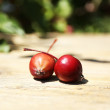 Apples on wooden table in garden, outdoors — Stock Photo #51170701