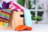 Multicoloured socks in box — Stock Photo
