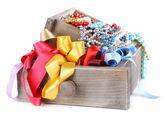 Grey drawer full of multicoloured ribbons — Stock Photo