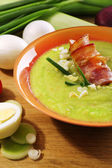 Leek soup on table, close up — Stock Photo