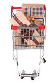 Muitas caixas presentes no carrinho de compras — Fotografia Stock