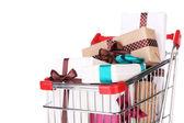 Muchas cajas presentes en carrito de compras — Foto de Stock