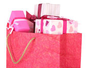 Present boxes in paper bag — Foto de Stock