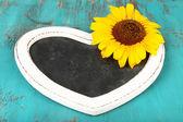 Mooie zonnebloem schoolbord leeg op houten achtergrond — Stockfoto