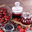 Berries jam in glass jars on table, close-up — Stock Photo #51229907