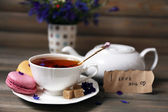 Cup of fresh herbal tea — Stock Photo