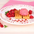 Tasty belgian waffles with ice cream on wooden table — Stock Photo #51230691