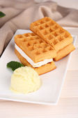 Belgian waffles with ice cream — Stock Photo