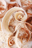 Wood shavings on sawdust — Stock Photo