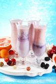 Delicious fruit milkshakes — Stock Photo