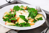 Green salad with apples with walnuts and cheese — Stock Photo