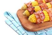 烤的培根卷玉米,特写 — 图库照片