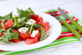 Salad with watermelon and tomatoes with feta — Stock Photo