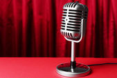 Vintage microphone on table — Stock Photo