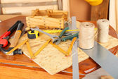 Working tools on table, in workshop — Stock Photo