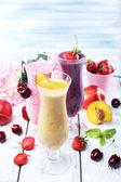 Delicious smoothie on table — Stock Photo