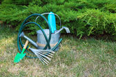 Yeşil çimenlerin üzerinde bahçe aletleri — Stok fotoğraf