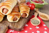 Baked sausage rolls — Stock Photo