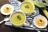 Leek soup on table — Stock Photo
