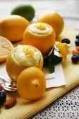 Tasty lemon desserts on table at home — Foto Stock