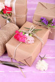 Beautiful gifts with flowers — Foto de Stock