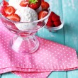 Creamy ice cream with raspberries on plate in glass bowl, on color wooden background — Stock Photo #51287625