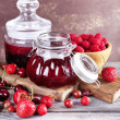 Berries jam in glass jars on table, close-up — Stock Photo #51287829