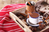 Cup of hot chocolate on table, close up — Foto Stock